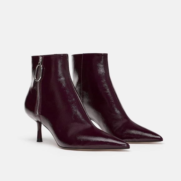authentic quality save up to 80% quality products Zara Shoes | Purple Patent Leather Pointy Toe Ankle Boots | Poshmark